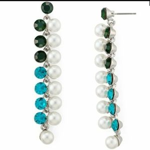 Aqua Simulated Pearl Linear Earrings